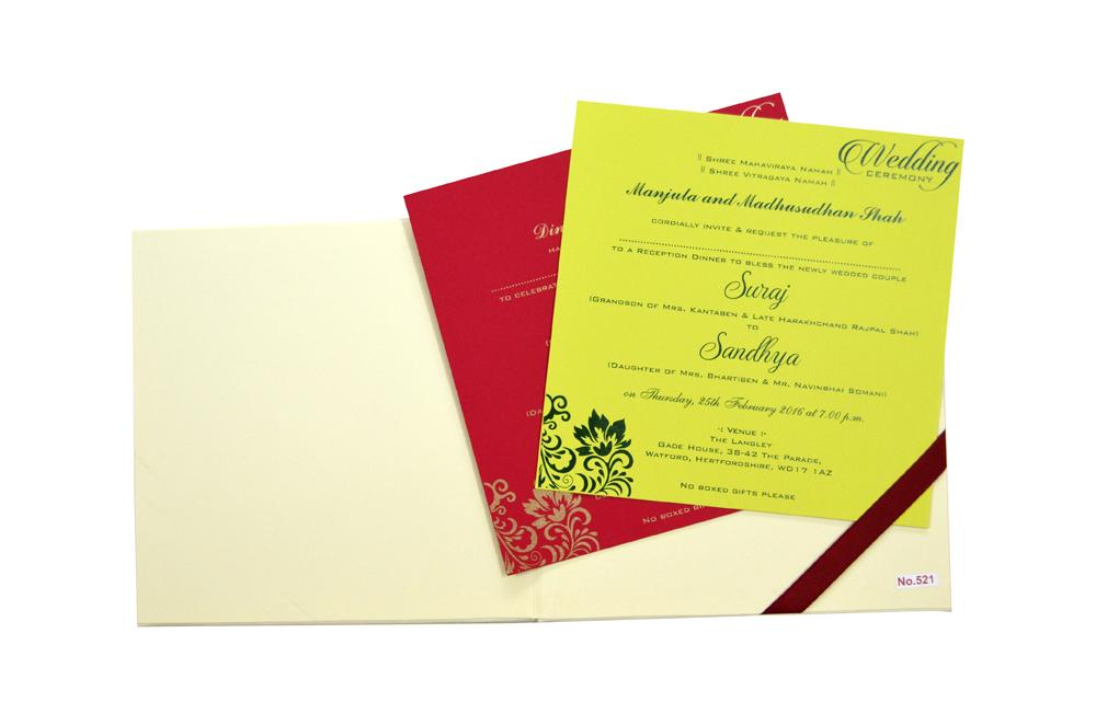 Hindu Padded Wedding Card RR 521 f