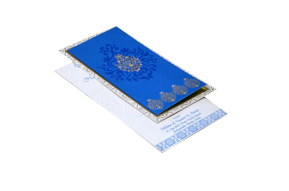 Blue Satin Cloth Invitation Design RR 1322