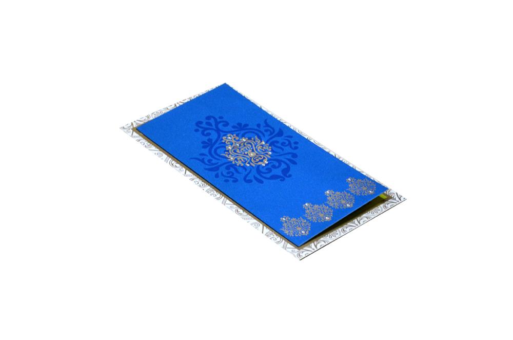 Blue Satin Cloth Invitation Design RR 1322 c