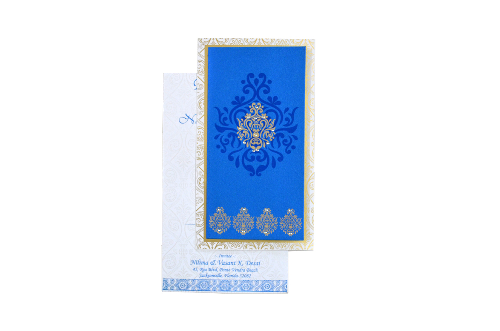 Blue Satin Cloth Invitation Design RR 1322 d