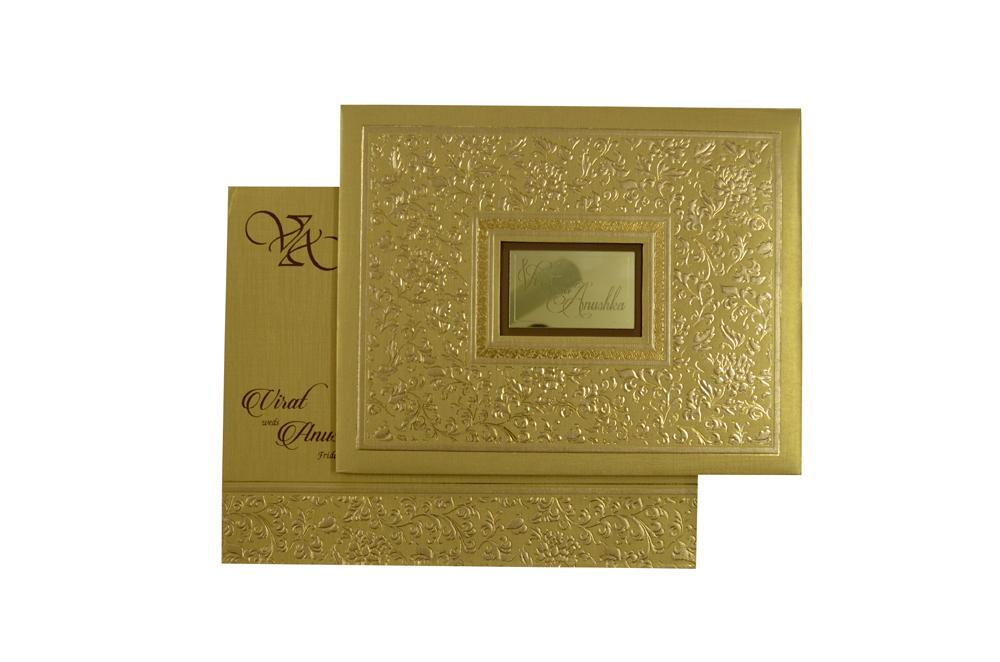 Golden Padded Wedding Card Design RR 527 d