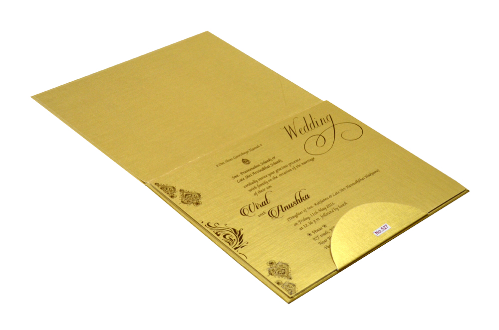 Golden Padded Wedding Card Design RR 527 e
