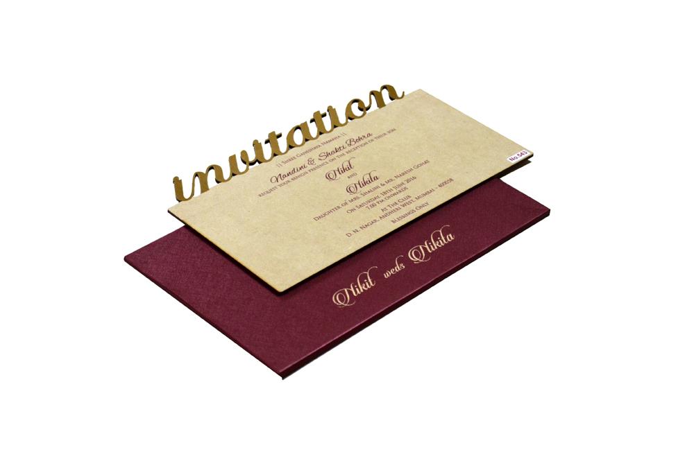 Wooden Laser Cut Invitation Design RR 543