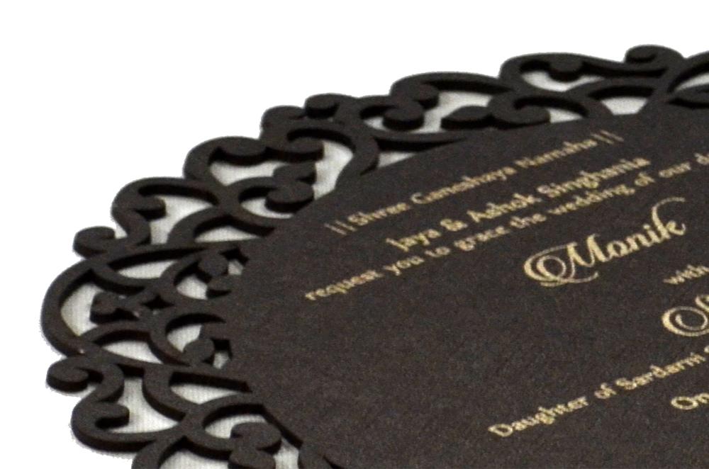 Brown Wooden Laser Cut Invitation Design RR 545 b