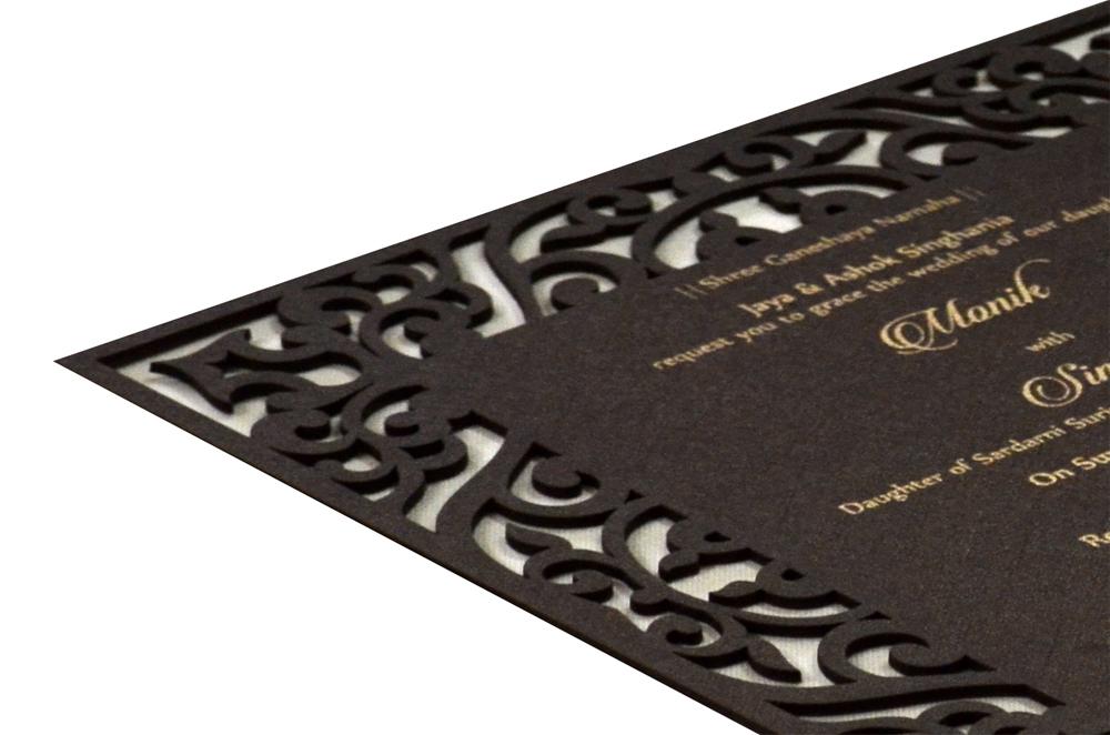 Brown Wooden Laser Cut Invitation Design RR 546 b