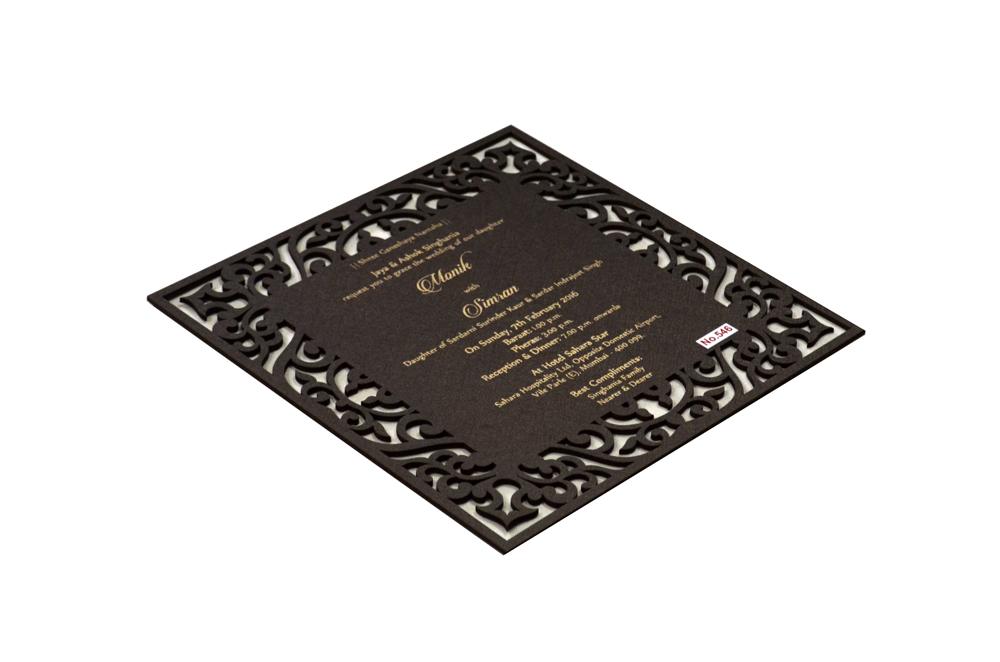 Brown Wooden Laser Cut Invitation Design RR 546 c