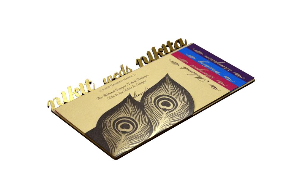 Peacock Feather Theme Laser Wedding Card RR 550 c