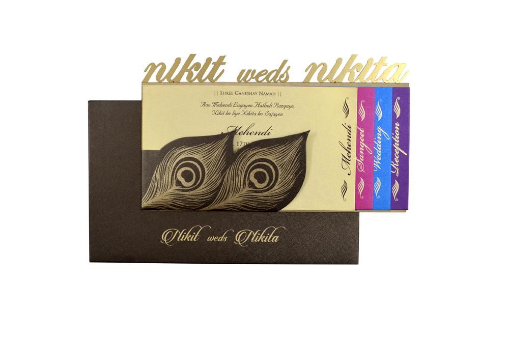 Peacock Feather Theme Laser Wedding Card RR 550 d