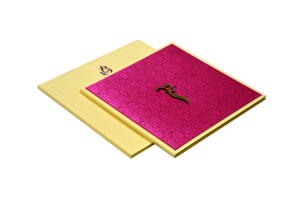 Hindu Pink Satin Cloth Padded Wedding Card Design RR 881