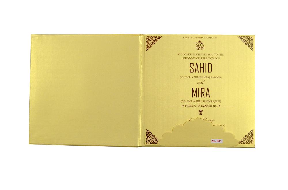 Hindu Pink Satin Cloth Padded Wedding Card Design RR 881 f
