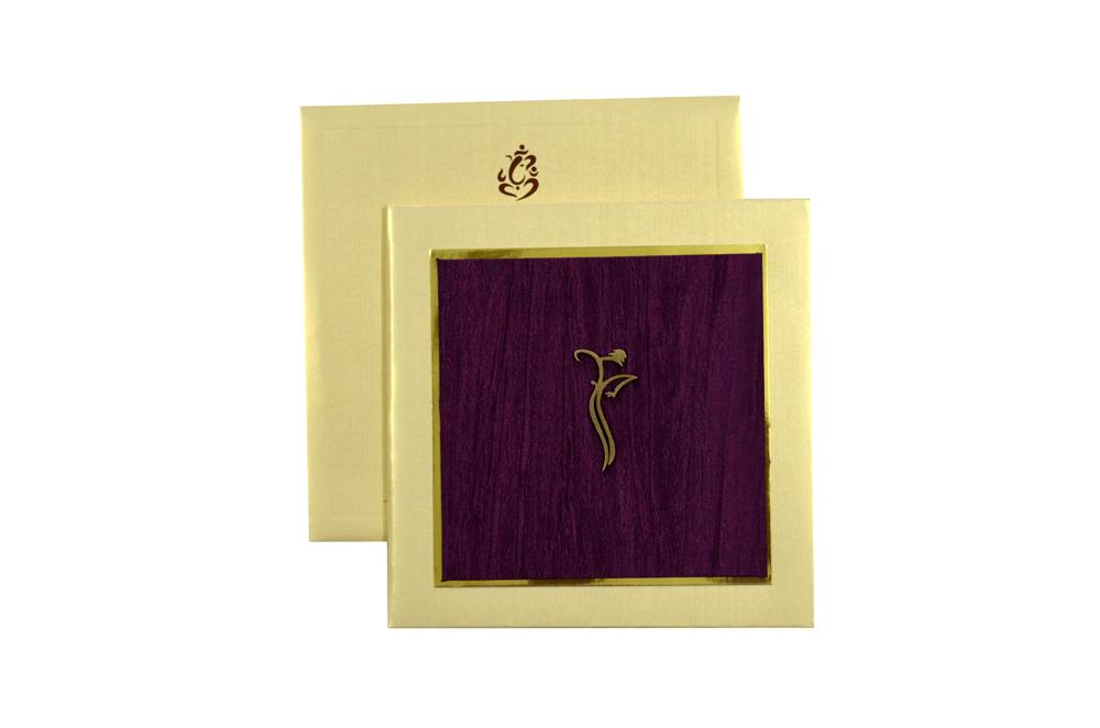 Hindu Purple Cloth Padded Wedding Card Design RR 884 d