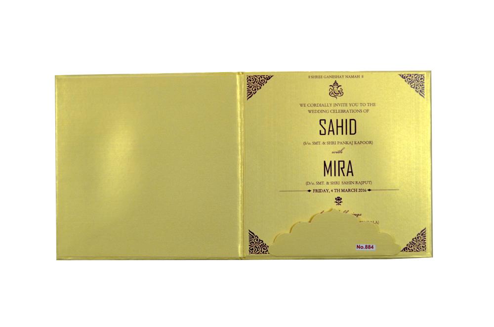 Hindu Purple Cloth Padded Wedding Card Design RR 884 f