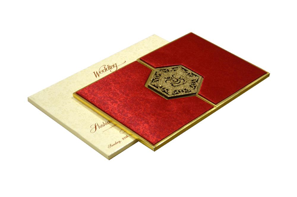 Red Satin Cloth Hindu Laser Wedding Card Design RR 921