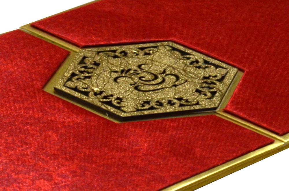 Red Satin Cloth Hindu Laser Wedding Card Design RR 921 b