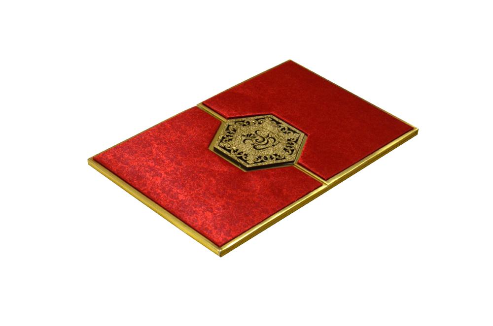 Red Satin Cloth Hindu Laser Wedding Card Design RR 921 c