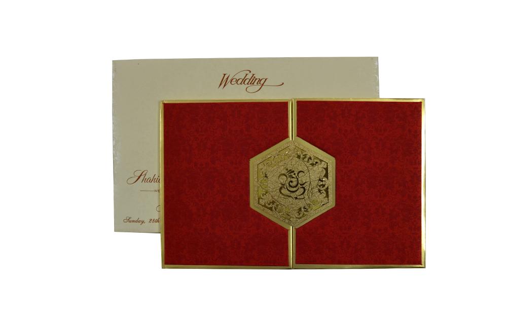 Red Satin Cloth Hindu Laser Wedding Card Design RR 921 d