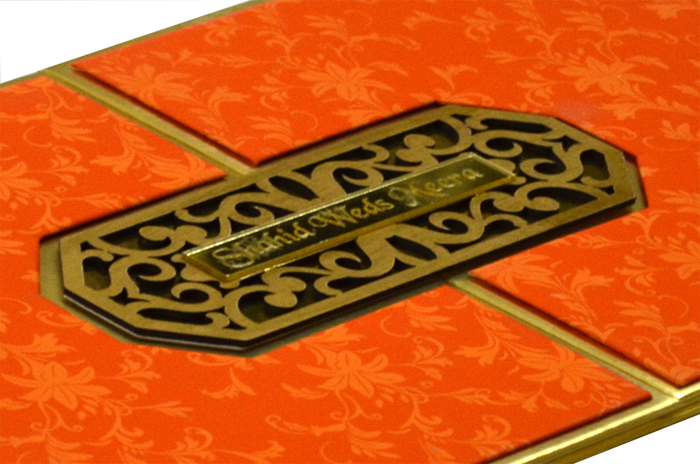 Orange Padded Laser Wedding Card Design RR 922 b