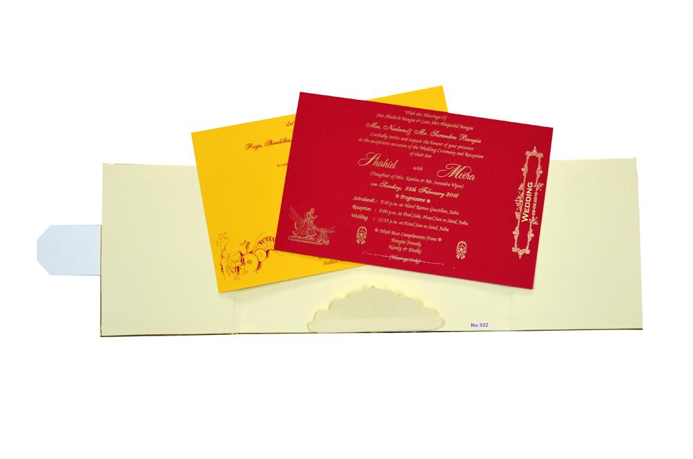 Orange Padded Laser Wedding Card Design RR 922 f