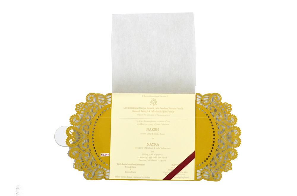 Hindu Lasercut Wedding Card Design RR 944 f