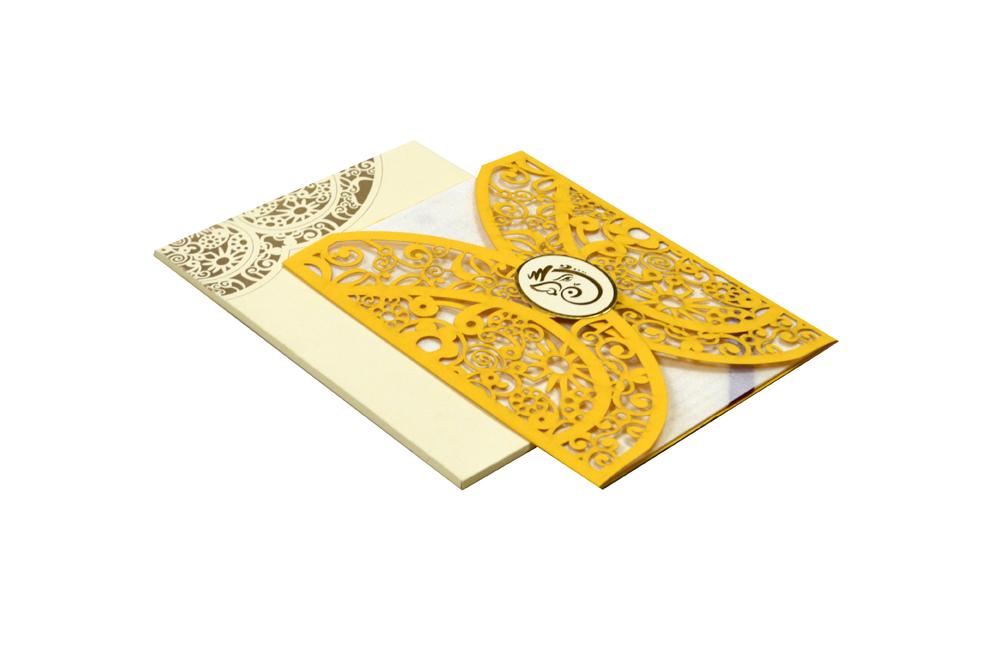 Hindu Lasercut Wedding Card Design RR 945