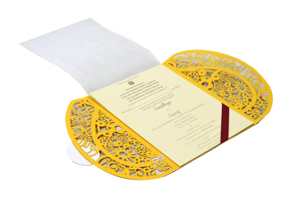 Hindu Lasercut Wedding Card Design RR 945 e