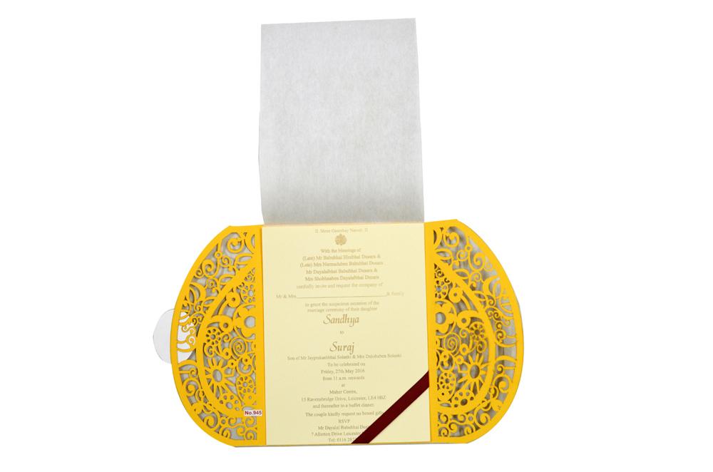 Hindu Lasercut Wedding Card Design RR 945 f