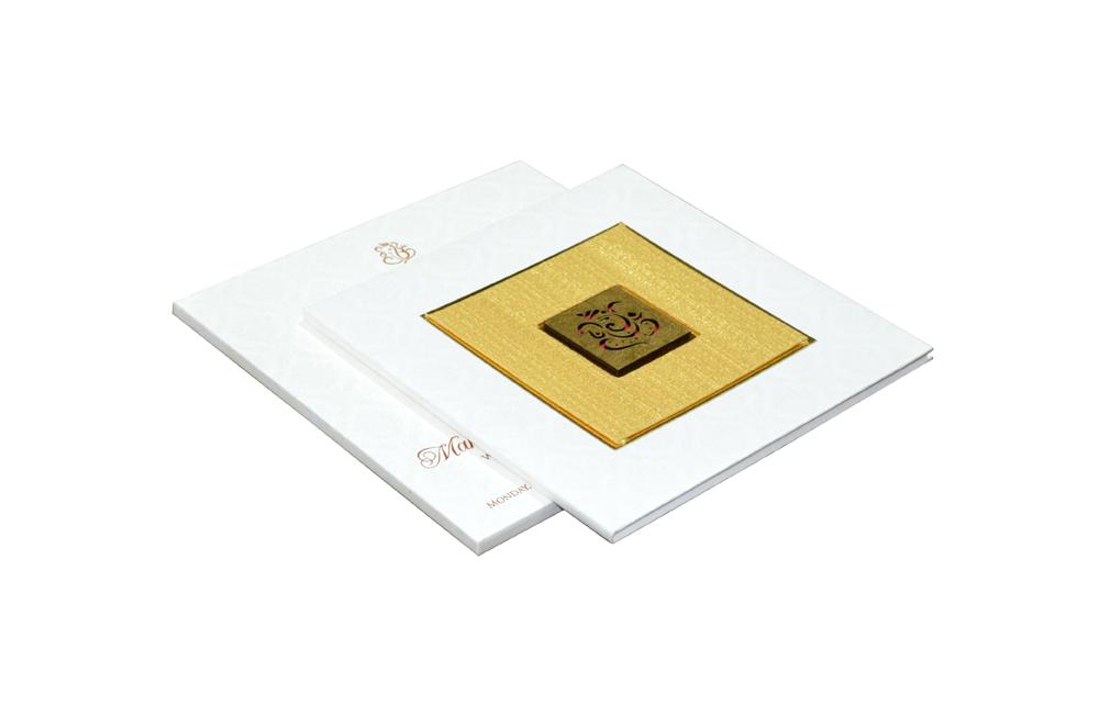 White Padded Wedding Card Design RR 953