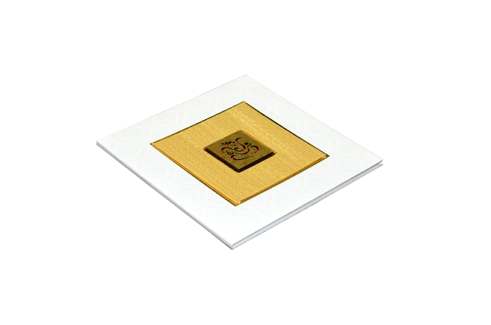 White Padded Wedding Card Design RR 953 c