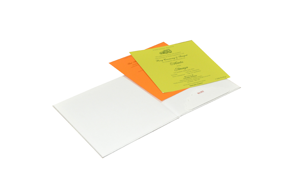 White Padded Wedding Card Design RR 953 d