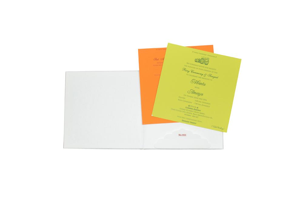 White Padded Wedding Card Design RR 953 e