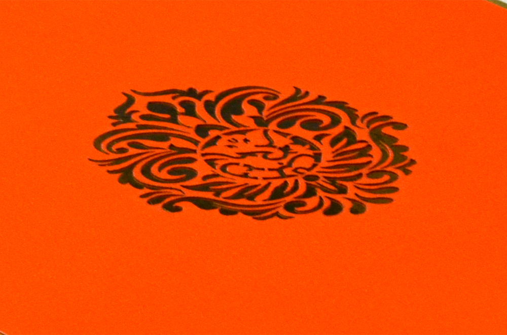 Orange Laser Cut Hindu Wedding Card Design RR 960 b
