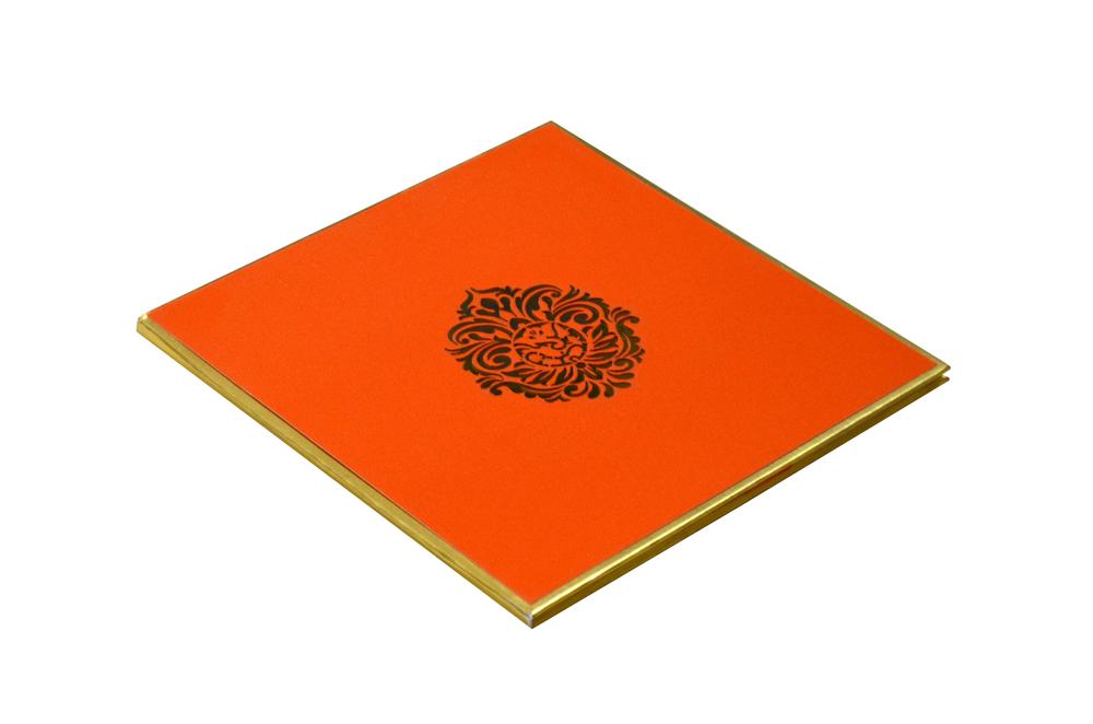 Orange Laser Cut Hindu Wedding Card Design RR 960 c