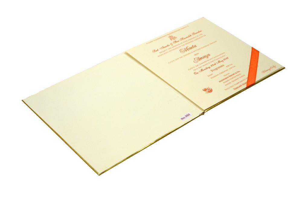 Orange Laser Cut Hindu Wedding Card Design RR 960 e