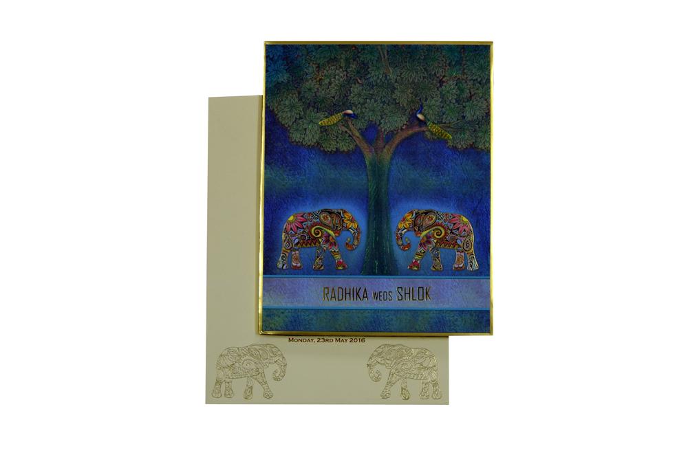 Elephant Theme Wedding Card Design RR 965 d