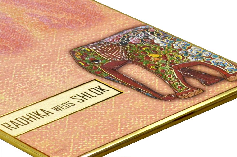 Elephant Theme Peach Wedding Card Design RR 966 b