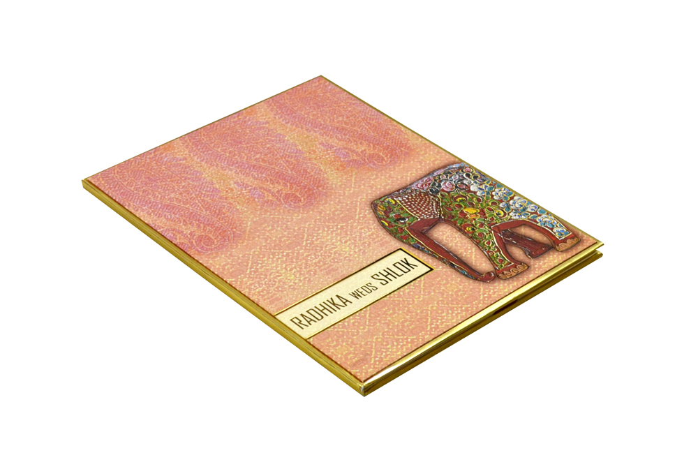Elephant Theme Peach Wedding Card Design RR 966 c