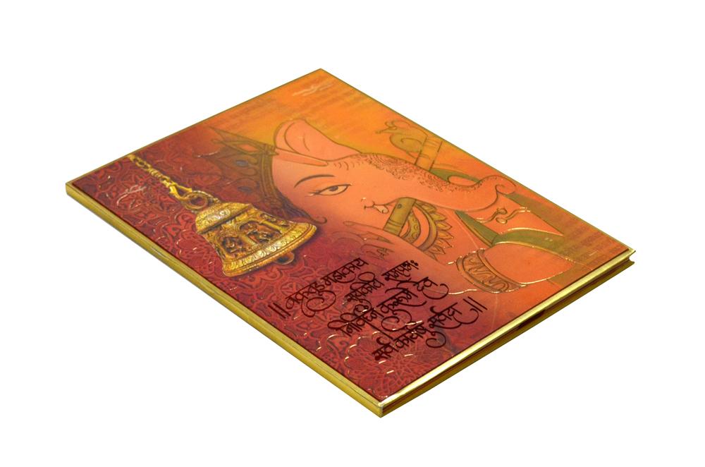 Ganesh Theme Orange Wedding Card Design RR 967 c