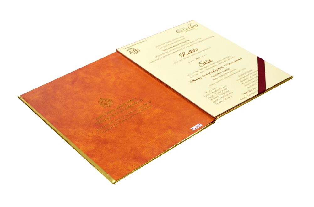 Ganesh Theme Orange Wedding Card Design RR 967 e
