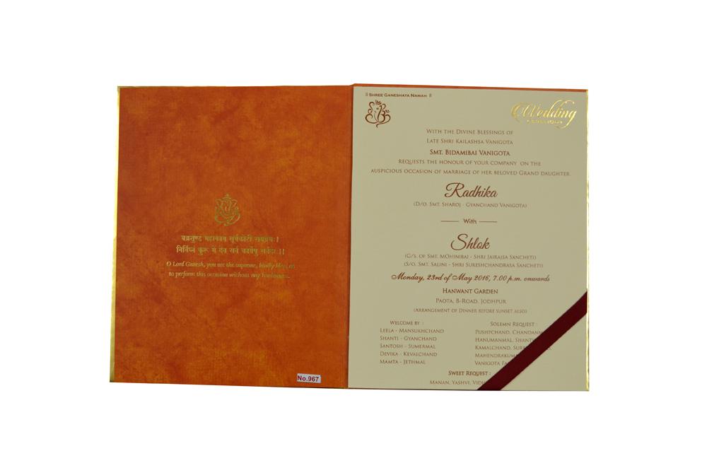Ganesh Theme Orange Wedding Card Design RR 967 f