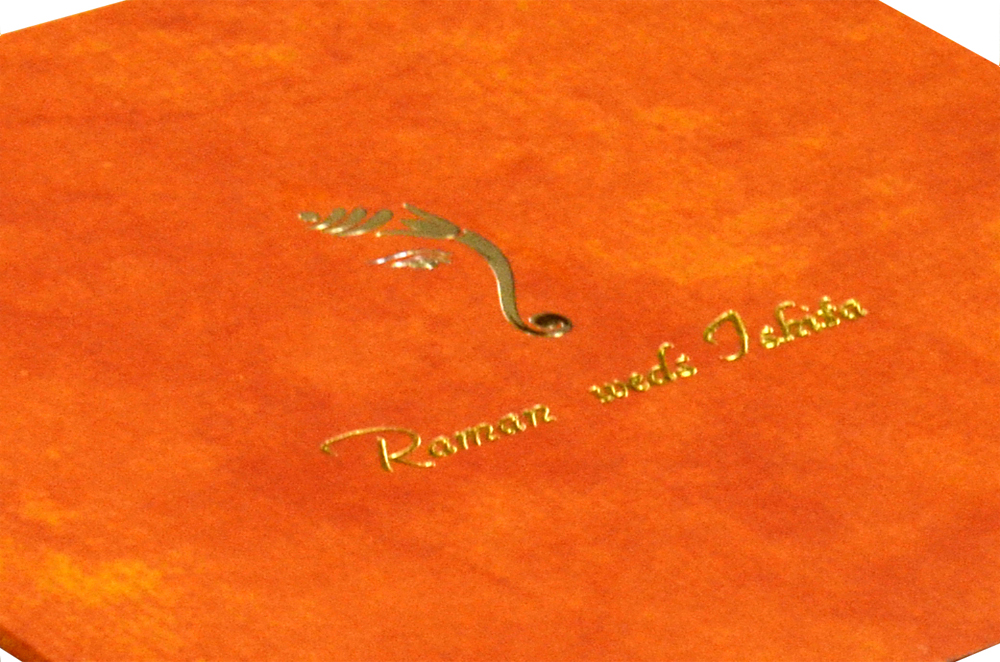 Orange Hindu Wedding Card Design RR 969 b