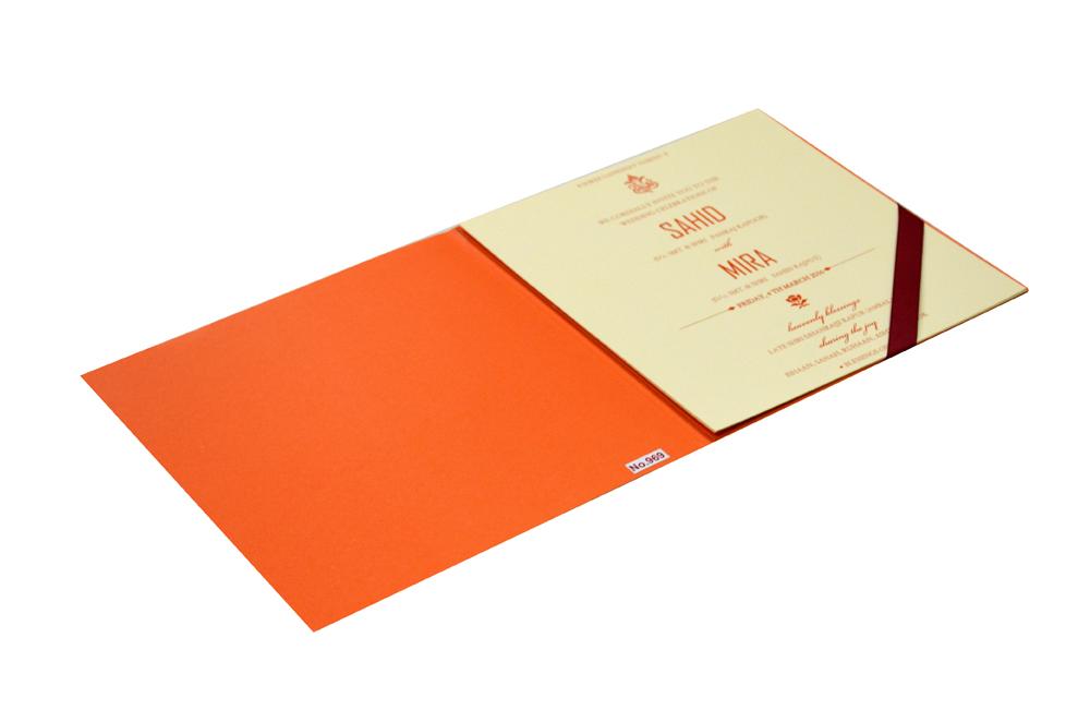 Orange Hindu Wedding Card Design RR 969 e