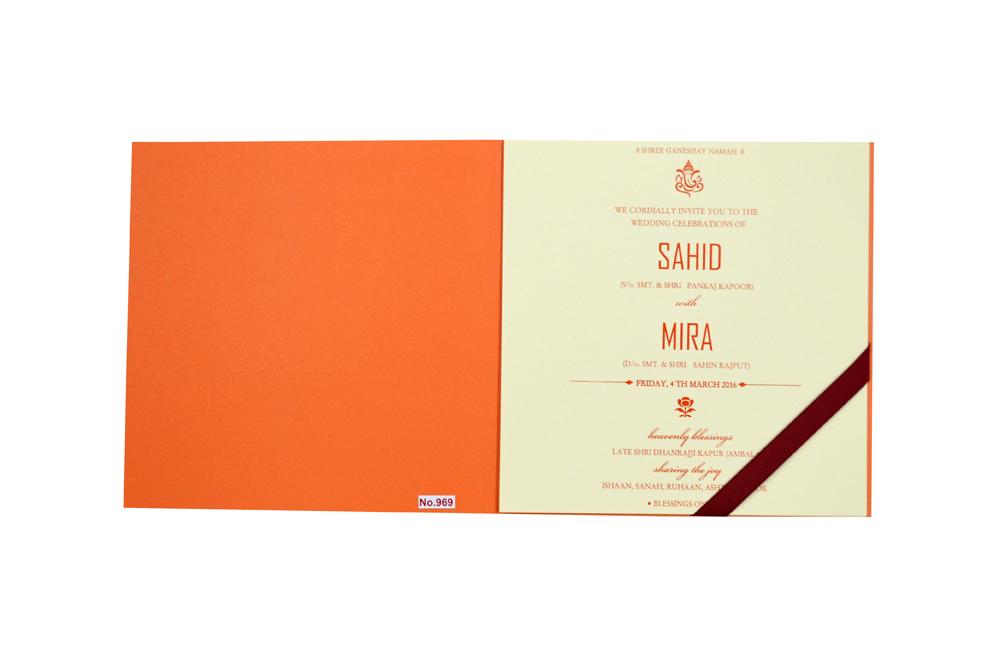 Orange Hindu Wedding Card Design RR 969 f