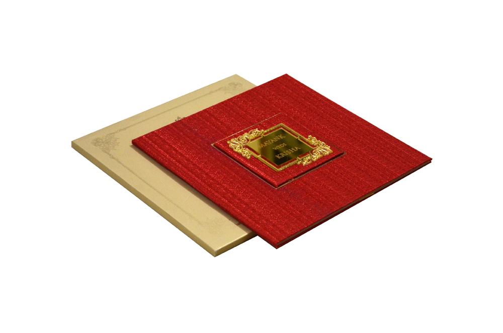 Red Designer Wedding Card WD 7702