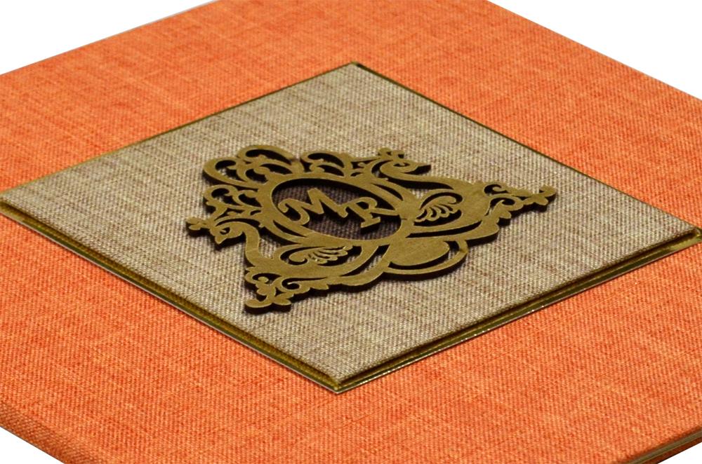 Orange Wedding Card Design WD 7705 b
