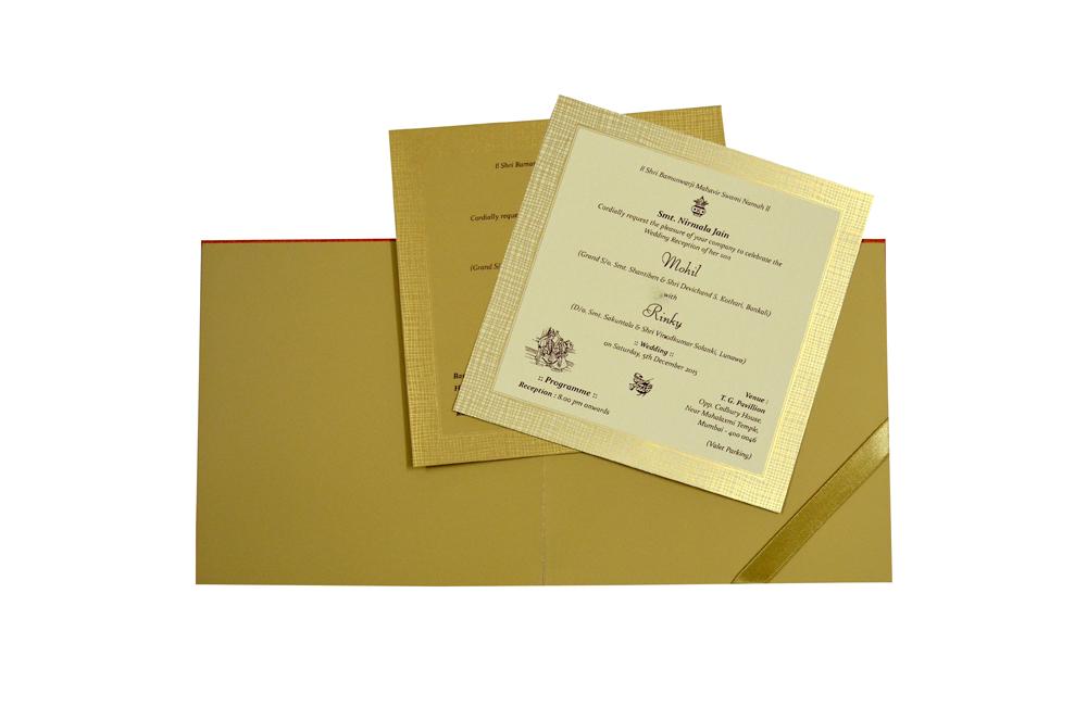Orange Wedding Card Design WD 7705 f