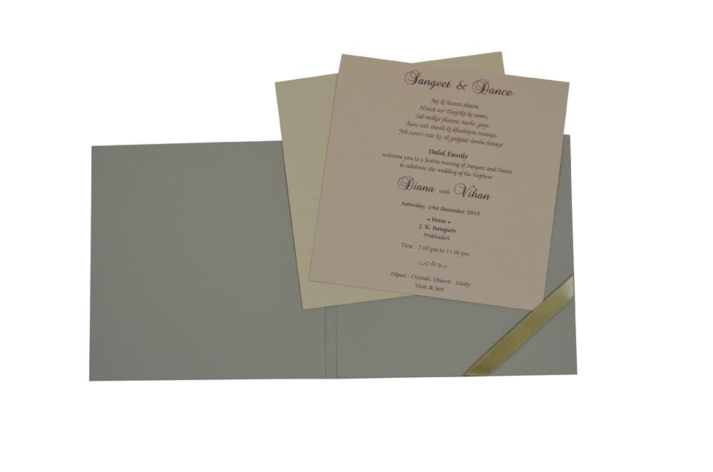 Grey Wedding Card Design WD 7706 f