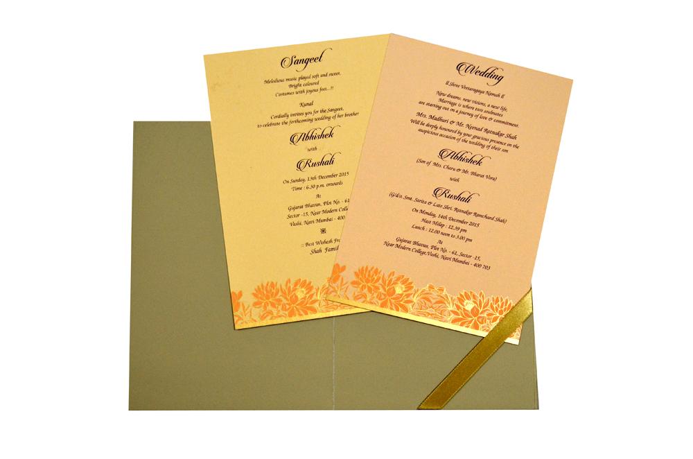 Flower Theme Wedding Card Design WD 7710 f