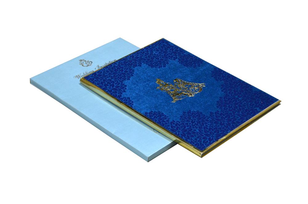 Blue Velvet Radha Krishna Theme Wedding Card Design WD 7767