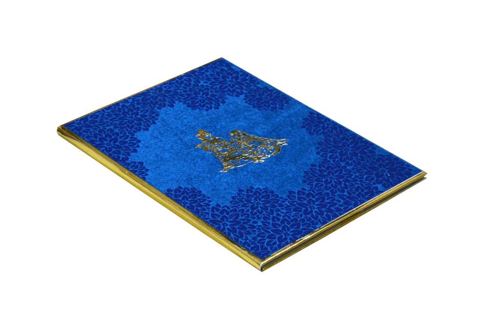 Blue Velvet Radha Krishna Theme Wedding Card Design WD 7767 c