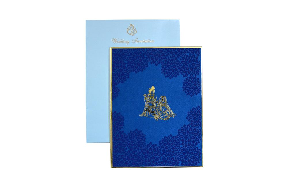 Blue Velvet Radha Krishna Theme Wedding Card Design WD 7767 d